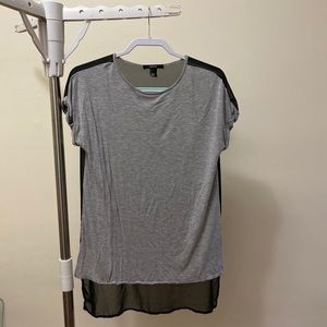 Grey Cotton Shirt With Black Mesh Back